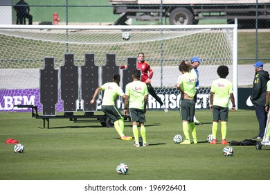 TERESOPOLIS, BRAZIL - May 05 , 2014: The Brazil national football team practicing at Granja Comary training center in preparation for the 2014 World Cup soccer tournament that starts in June.