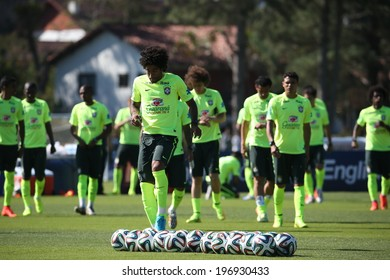 TERESOPOLIS, BRAZIL - May 5 , 2014: The Brazil national football team practicing at Granja Comary training center in preparation for the 2014 World Cup soccer tournament that starts in June.