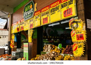 TERESOPOLIS, RIO DE JANEIRO - BRAZIL: AUG 15, 2020: Facade of Alto Fruit, a small market specialized in horticulture products located at the corner of Oliveira Botelho avenue with Jorge Lossio street.