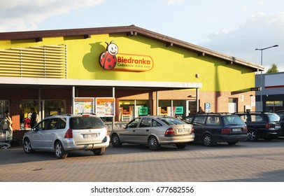 TERESPOL. POLAND. 9 MAY 2016 : Supermarket Biedronka in Terespol. Poland