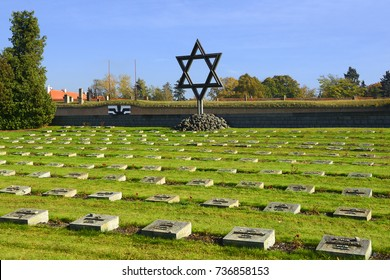TEREZIN, CZECH REPUBLIC - OCTOBER 15, 2017: National Cemetery in front of Small Fortress Terezin. Terezin memorial, former concentration camp. Thousands of Jews were murdered, by Nazis, during WW2