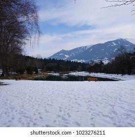 Terfens Tyrol Austria near Schwaz and Innsbruck - swimming and fishing lake Weisslahn in Winter