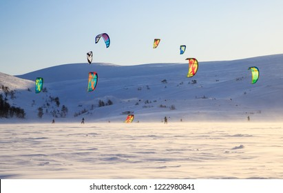 Teriberka, Murmansk / Russia - 1-30 of March 2018: Arctic Russian North Expedition adventures trip camp for exploration, winter active sports snowkiting, recreation and fun, travelling. KiteClass