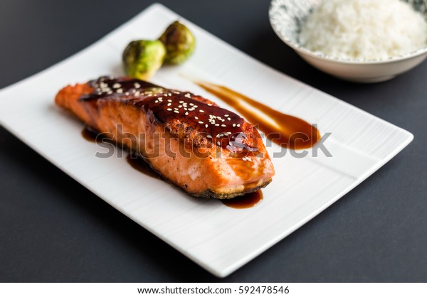 Teriyaki Salmon On Black Background Japanese Stock Photo Edit Now 592478546