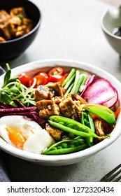 Teriyaki Tofu with Boiled Egg, Pea, Beetroot, Sunflower Sprout on Riceberry Salad bowl