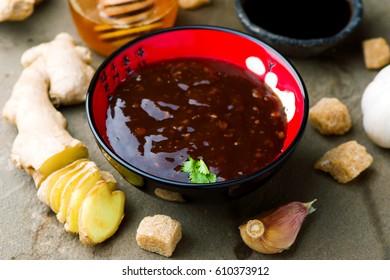Teriyaki, traditional Japanese sauce. selective focus