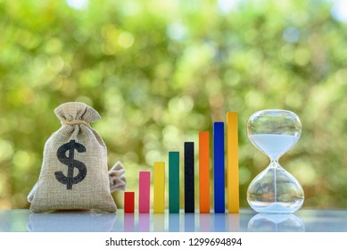 Term fund / time value of money / wealth creation, financial concept : US dollar bag, rising bar graph with hourglass, ideas about sustainable fund investment from private income for long term growth