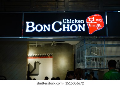 Terminal 21 , Bangkok , Thailand - 20/9/2019 : Sing of Bonchon chicken restaurant  one of the fastfood that very famous in Thailand.