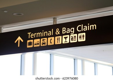 Terminal and Baggage Claim Airport Sign