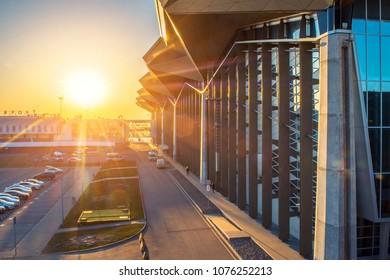 Terminal building airport Pulkovo at sunset evening. Russia, Saint Petersburg. 15 April 2018