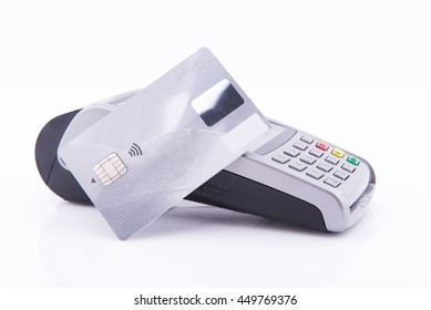 Terminal business with credit card on white background