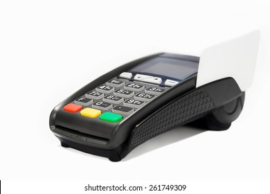 Terminal with credit card on a white background