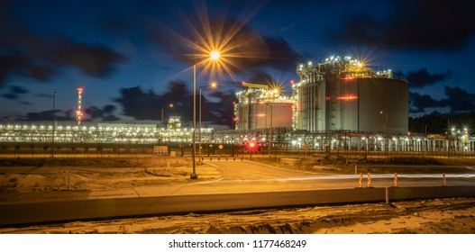 terminal lng at night, Swinoujscie, Poland