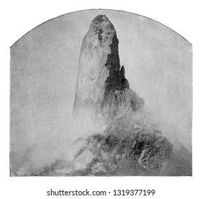 The Terminal Needle of the Dome, view taken from the edges of the crater, vintage engraved illustration. From the Universe and Humanity, 1910.