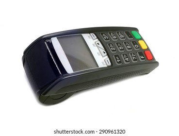 terminal for payment cards on a white background