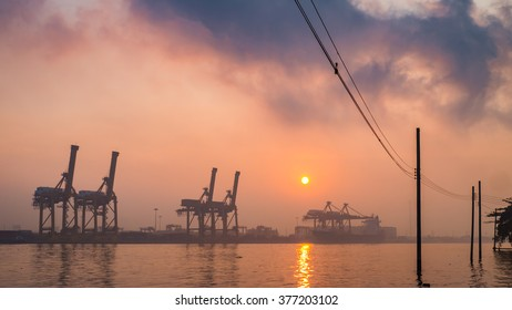 Terminal port among the mist in the morning,Thailand
