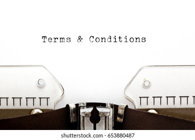 Terms and Conditions headline printed on old typewriter.