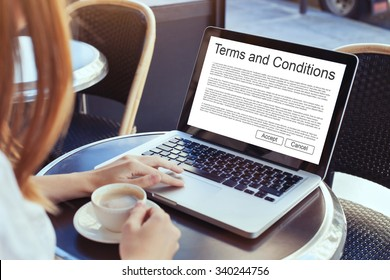 terms and conditions, website cookies, concept on the screen of computer