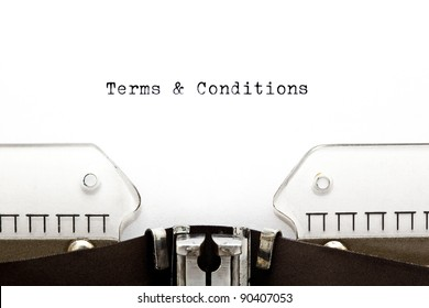 Terms & Conditions written on an old typewriter