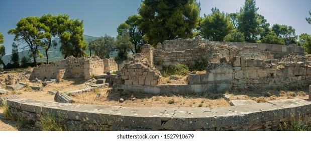 Terms (public baths) of Epidaurus at the sanctuary in Greece. Epidaurus is a ancient city dedicated to the ancient Greek God of medicine Asclepius.