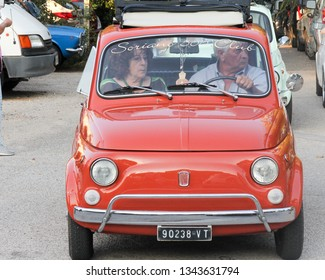 Terni, Italy - 31st July 2016: Fiat 500 car at rally in Miranda. Rallies are held regularly for different makes of car.