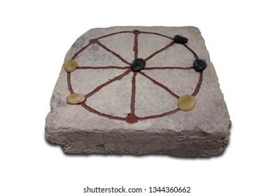 Terni lapilli or ancient roman tic-tac-toe. Replica