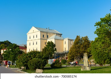 TERNOPIL, TERNOPIL REGION, UKRAINE: August 12, 2017: Ternopil castle, view from the side of the Ternopil pond promenade