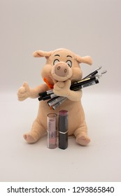 Ternopil, Ukraine - 14 January, 2019: A soft pig toy holds cosmetic pencils for eyebrows, lipstick is in front of her