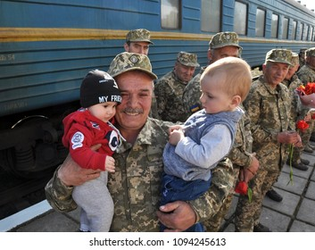 Ternopil - Ukraine - April 25, 2018. Warm meeting of the Ukrainian military at the time of flooding home after performing a combat task on the Donbass