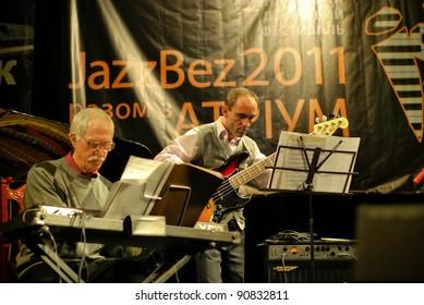 """TERNOPIL, UKRAINE - DECEMBER 10: Band """"Dzyga Jazz Quintet"""" performs at annual Jazz Festival """"JazzBez"""" on December 10, 2011 in Ternopil, Ukraine."""