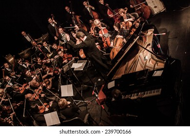 """TERNOPIL, UKRAINE - DECEMBER 12: Ternopil Philharmonic Symphony Orchestra  as part of annual Festival """"Jazz Bez"""" on December 12, 2014 in Ternopil, Ukraine"""