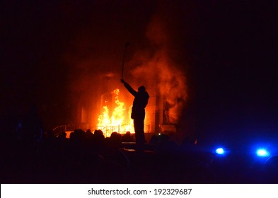 TERNOPIL, UKRAINE- FEBRUARY 18: Protestants pelted police with stones, and then burned police department on the Night of anger on February 18, 2014 in Ternopil, Ukraine (riots, terrorism, mayhem).