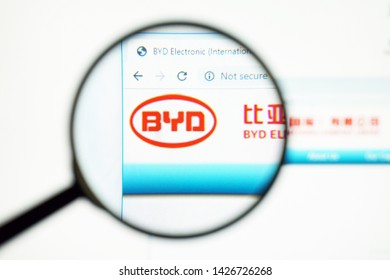 Ternopil, Ukraine - June 17 2019: Oficial webpage of BYD , homepage. logo visible