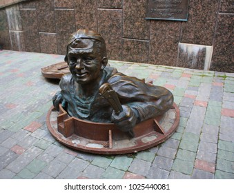 Ternopil, Ukraine - May 12, 2014: The Plumber Monument in the center of old town in Ternopil