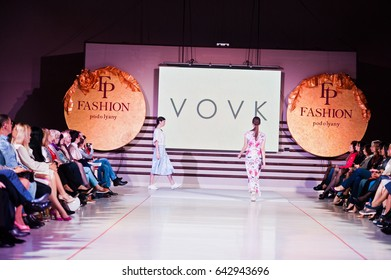 Ternopil, Ukraine - May 12, 2017: Fashion models wearing clothes designed by Vovk from the spring/summer collection at the Podolyany fashion show.