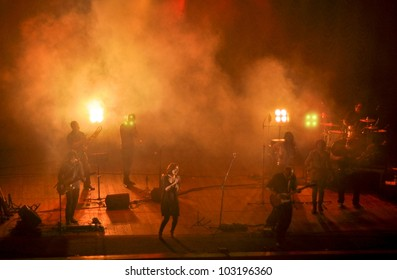 """TERNOPIL, UKRAINE - MAY 19: Christian rock band """"Briksa and Friends"""" performs at the concert on May 19, 2012 in Ternopil, Ukraine."""