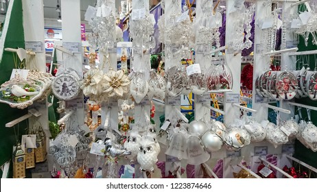 Ternopil, Ukraine - November 06, 2018: Christmas market in the big shopping mall. Many Christmas balls and toys