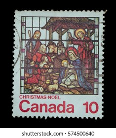 TERNOPIL, UKRAINE - OCTOBER 19, 2016: CANADA - CIRCA 1976: stamp printed by Canada shows christmas circa 1976