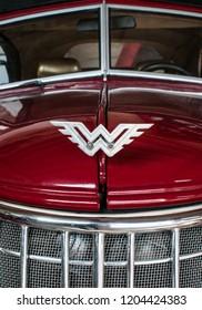 Ternopil, Ukraine - September 15, 2018: Vintage sports car Wanderer W25K Roadster, 1937 year of production, red, car logo on the radiator grille.