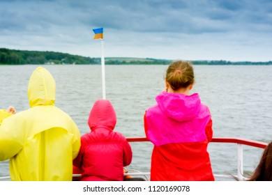 Ternopil/Ukraine/ Ukraine. May. 17. 2018. The boat tourists float lake Ternopil.