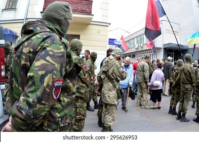 "TERNOPOL, UKRAINE-JULY. 12, 2015: Meeting the soldiers of the ""Right Sector"" The reaction to the murder of the military in Mukachevo, Ukraine. The inscription on the flag ""Right Sector"""