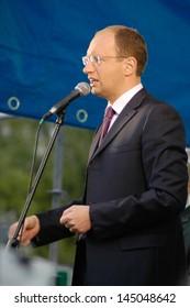 """TERNOPOL, UKRAINE-SEP. 29: Speech the leader of """"Front for Change""""  Arseniy Yatsenyuk. Ternopol, Ukraine on September 29, 2009."""