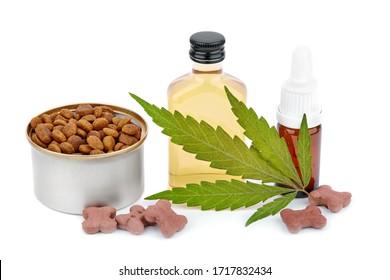 Terpene enthält in Hanf Öl in die CBD. Hoch gereinigtes, fast reines CBD-Produkt, Destillat. Hunde und Cannabisblätter einzeln auf weißem Hintergrund