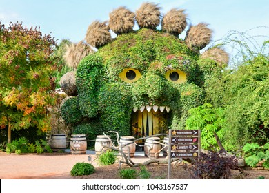 TERRA BOTANICA, ANGERS, FRANCE - SEPTEMBER 24, 2017: Head of a monster covered with ivy in a park