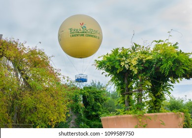 TERRA BOTANICA, ANGERS, FRANCE - SEPTEMBER 24, 2017: Large balloon in a park for visitors A BIRD S EYE VIEW OF TERRA
