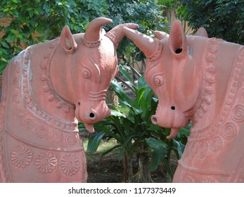Terra cotta horses in folk art garden in Hyderabad, Andhra Pradesh, in Hyderabad, India