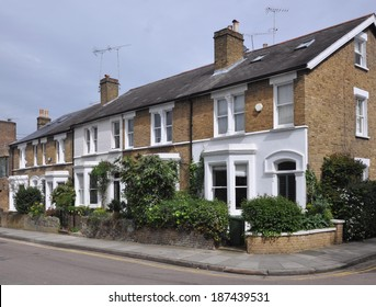 Terrace of 19th century English Victorian period town houses, UK.