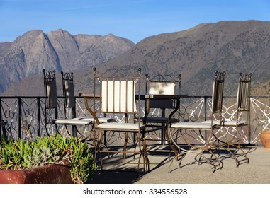 Terrace in Atlas Mountains, Morocco, Africa