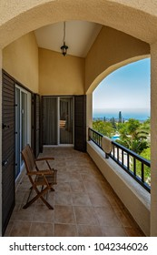 Terrace balcony furniture from bedroom of a luxury villa in tropical resort with chair and sea view