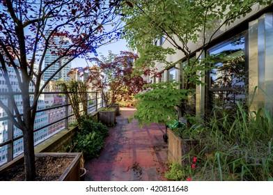 A terrace in a big city